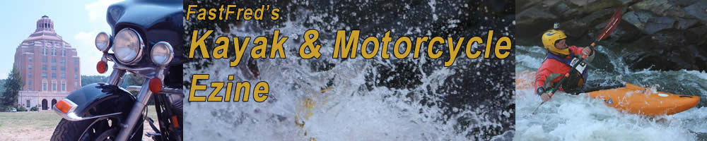 FastFred's Kayak & Motorcycle Banner image featuring Asheville Cityhall, Harley Davidson FLHT, and Liquidlogic Remix 69 Kayak at Hellhole on Ocoee